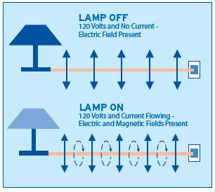 Electric Field present with voltage, Magnetic Field depends on current