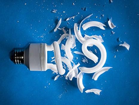Broken CFL Bulb Mercury Toxic Release