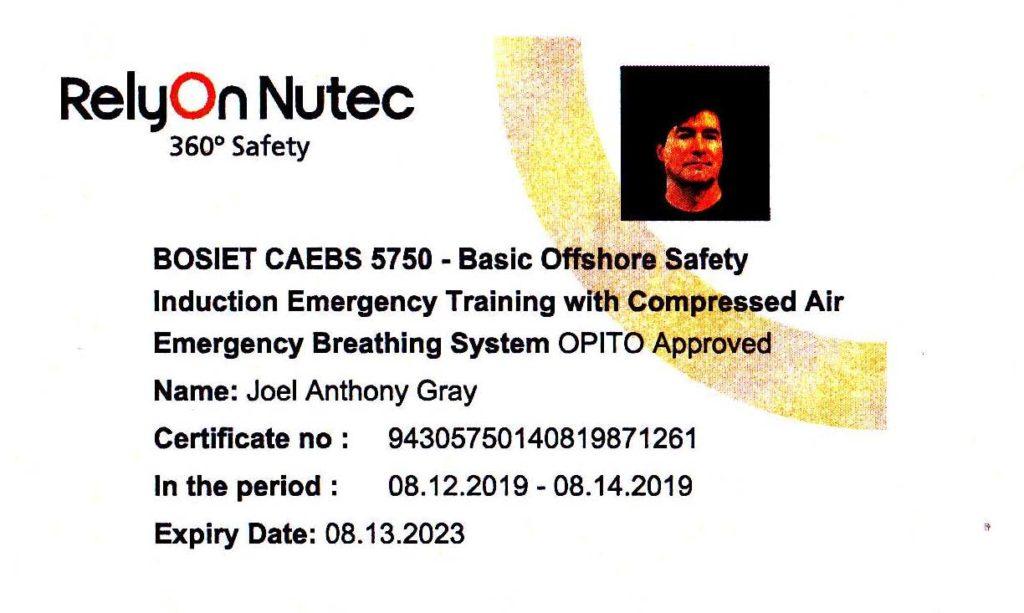 BOSIET Emergency Training License
