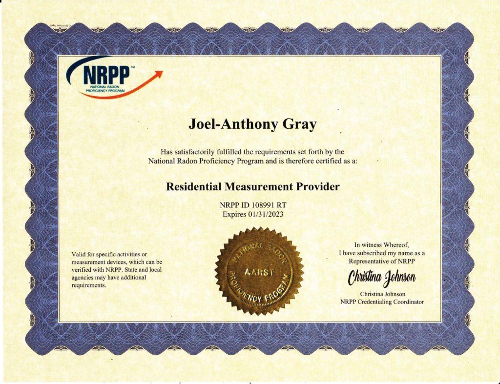 Certified Radon Testing Certificate JAG 108991 RT