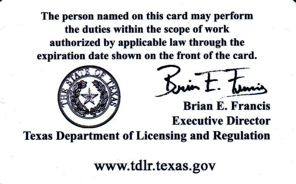 TDLR (Texas Dept. of Licensing & Registration)