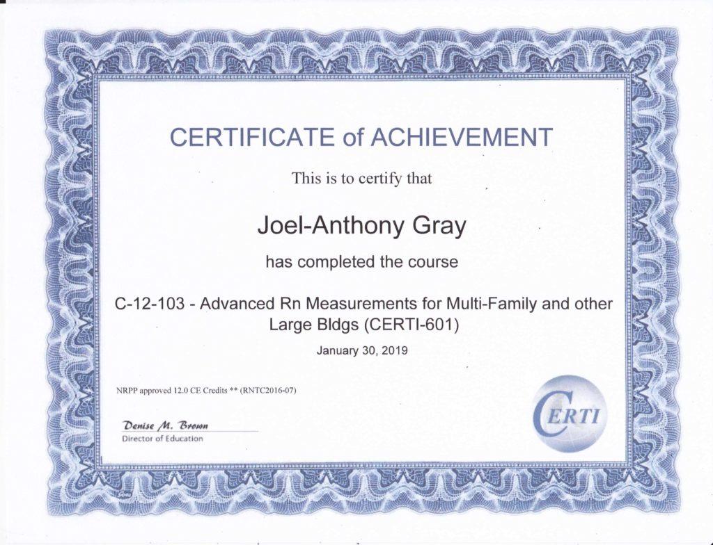 Radon Multifamily Large Building Measurement Certificate