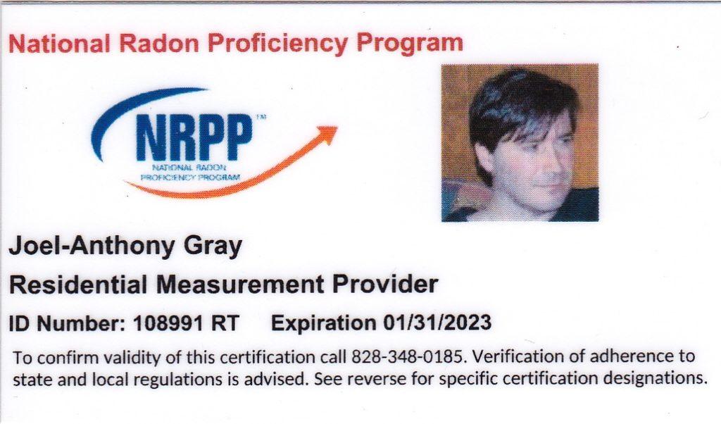 Certified Radon Testing ID Card