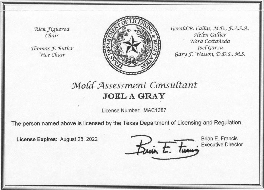 Texas Mold Assessment Consultant License Texas
