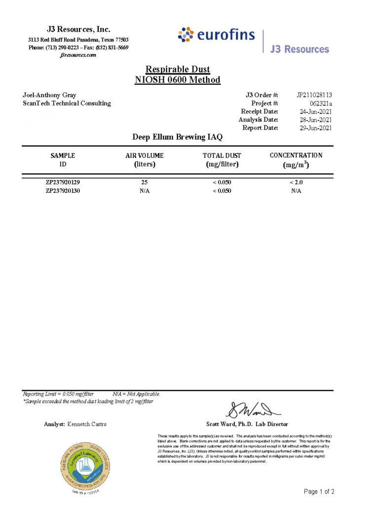 Organic Respirable Dust Testing Report NIOSH 0600