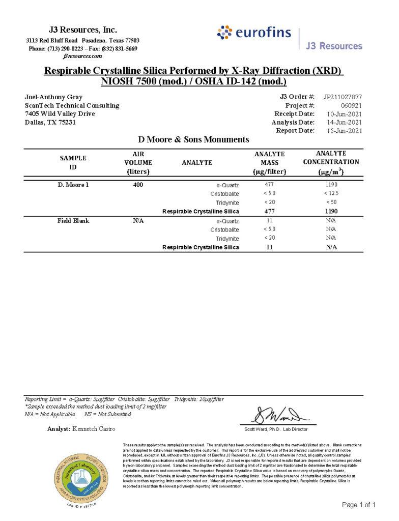 Silica Testing Survey XRD Report